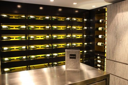 Custom Wine Cellar Designed With White Led Strip Lighting