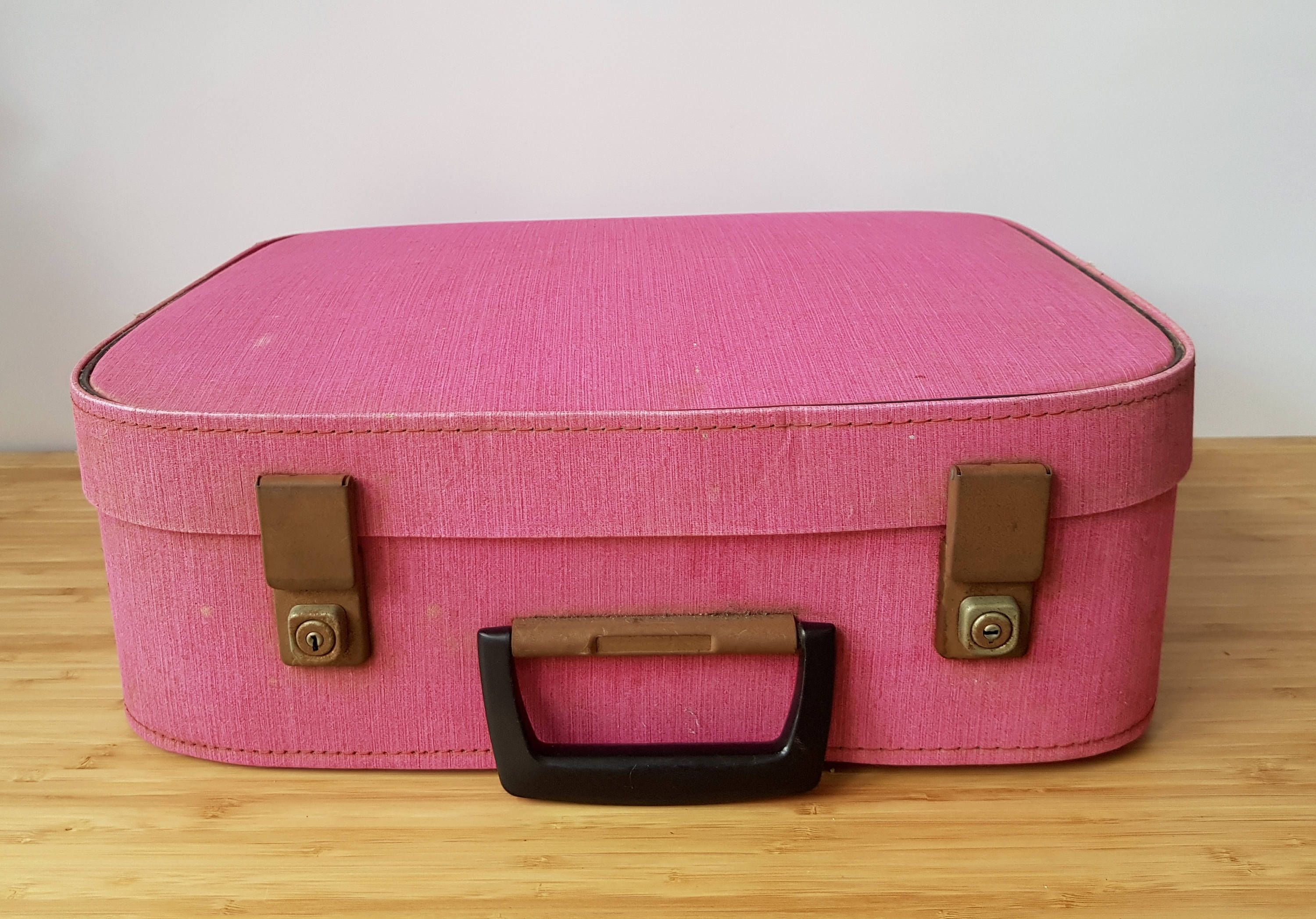 Vintage Pink Suitcase Vanity Case Lovely To Use For Storage