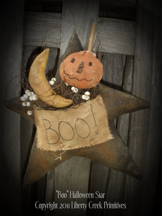 BOO Primitive Halloween Star PATTERN -   21 primitive autumn crafts