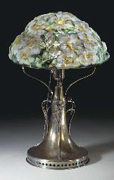 PAIRPOINT  'AZALEA' A REVERSE-PAINTED GLASS AND SILVERED-METAL TABLE LAMP, CIRCA 1915http://www.christies.com/