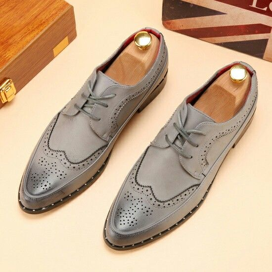 2017 Men Formal Dress Brogue Luxury Brand Pointed Toe Leather Oxfords  Business Studded Casual Wingtip Shoes Carved Blue Grey 9e9902d59162