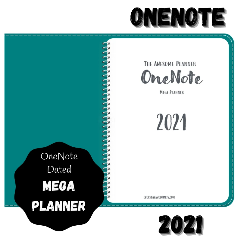 2021 OneNote Mega Awesome Planner (16 Month) Teal