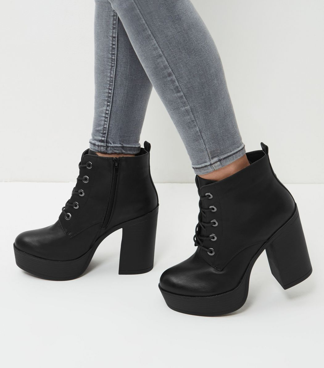 73375d7e6b0 Wide Fit Black Leather-Look Lace Up Block Heel Boots | Boots | Block ...