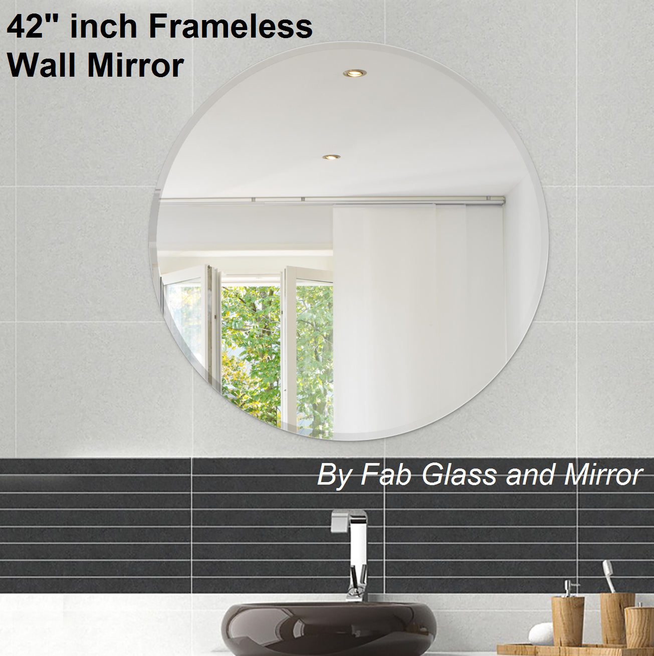 42 Inch Round Beveled Polished Frameless Wall Mirror Round