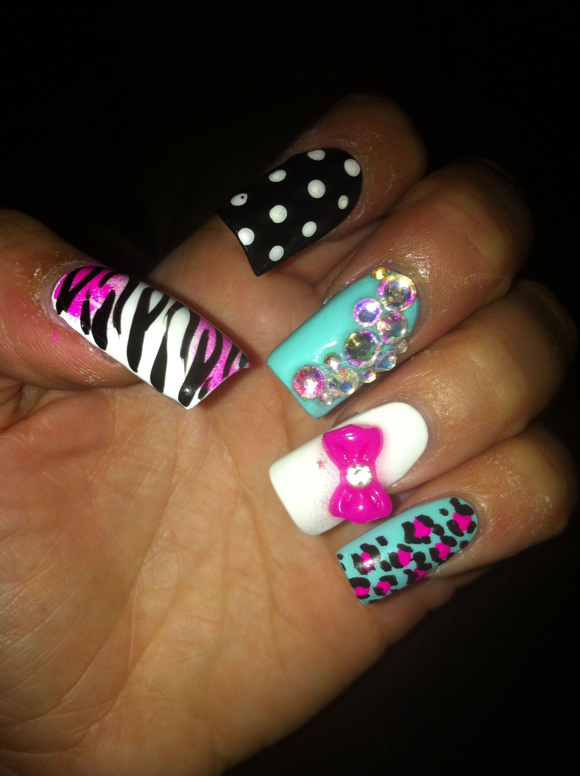 pink blue 3d bow nails nails pinterest pink blue 3d