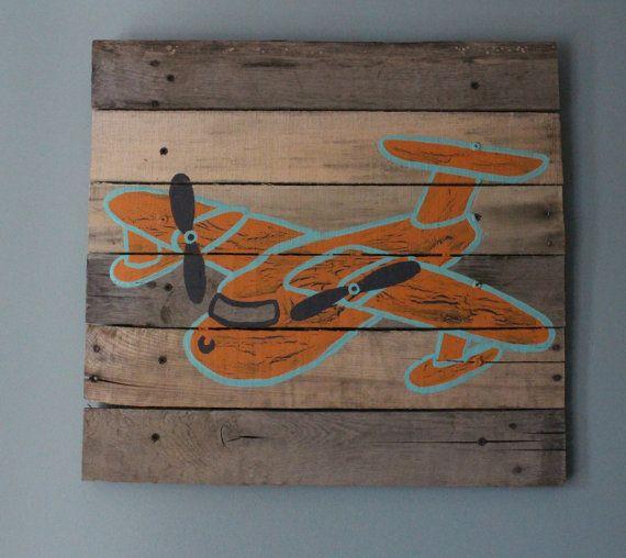 Wall Decor 20x20 : Airplane nursery art pallet rustic wall