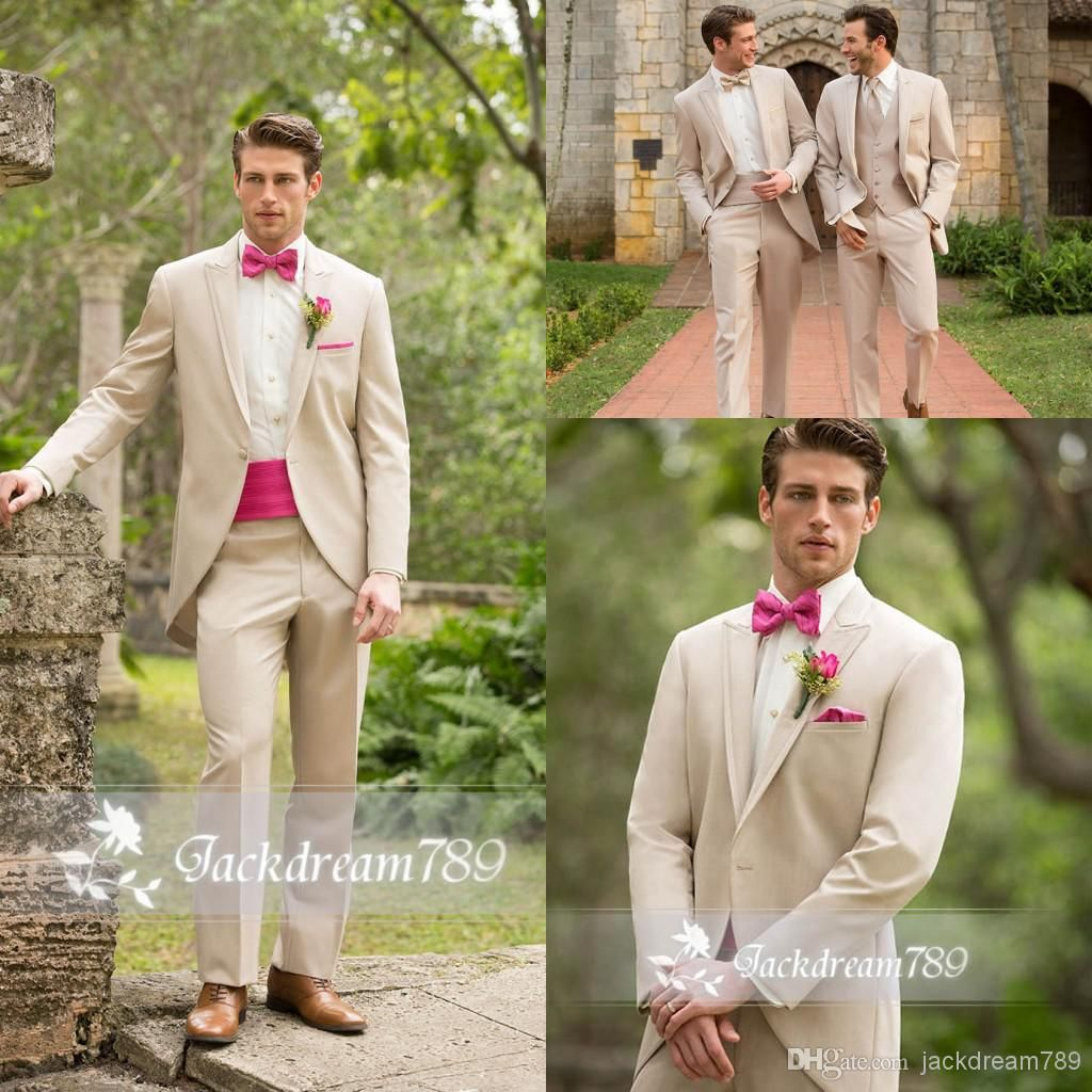 Wholesale Groom Tuxedos - Buy Slim Fit Ivory Color Groomsmen Tuxedos ...