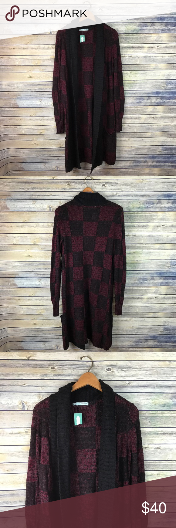 Maurices Maroon Black Long Chunky Duster Cardigan Super cute for ...