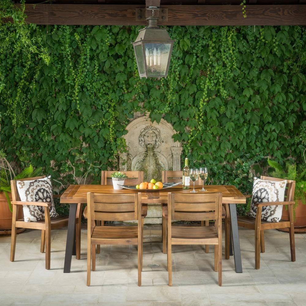 Noble House Veronica 7 Piece Teak Acacia Wood Rectangular Outdoor Dining Set Outdoor Dining Set Rustic Outdoor Furniture Outdoor Dining