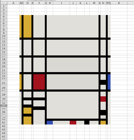 patrickt:  I recreated Piet Mondrian's Trafalgar Square in Excel. Check out the original here.