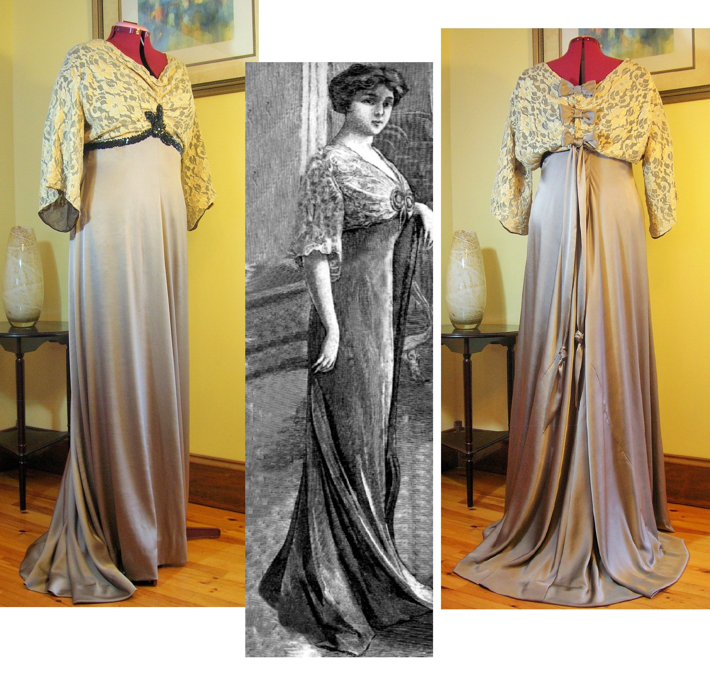 A glorious 1909 formal evening gown replica in warm taupe silk ...