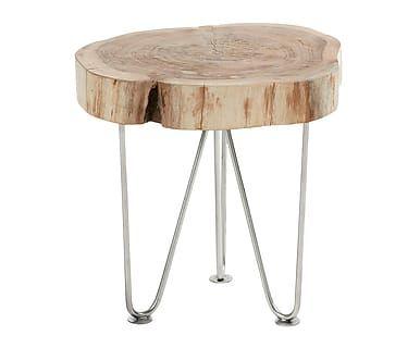 Mesa auxiliar de madera maciza de mango y acero Gavina