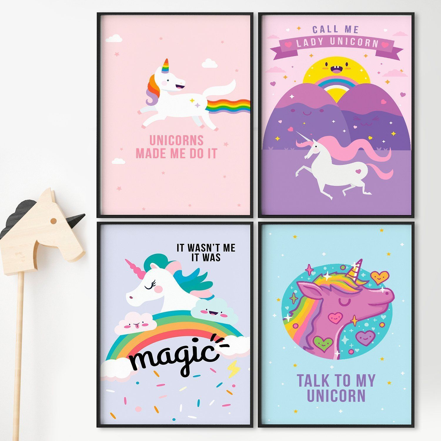 Set Of Four 11x17 Magical Posters By Pillow Toast Unicorns