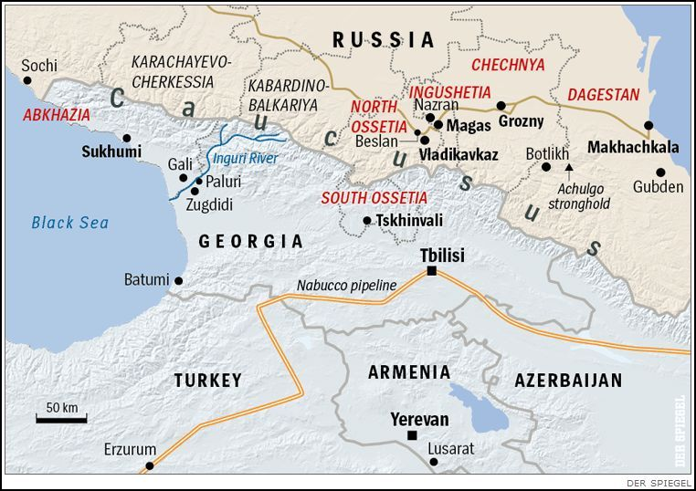 Map of Abkhazia North and South Ossetia Ingushetia Chechnya and