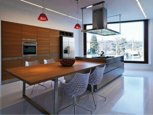 holz küchentheke kochinsel essplatz bodenfliesen | küche ... - Kochinsel