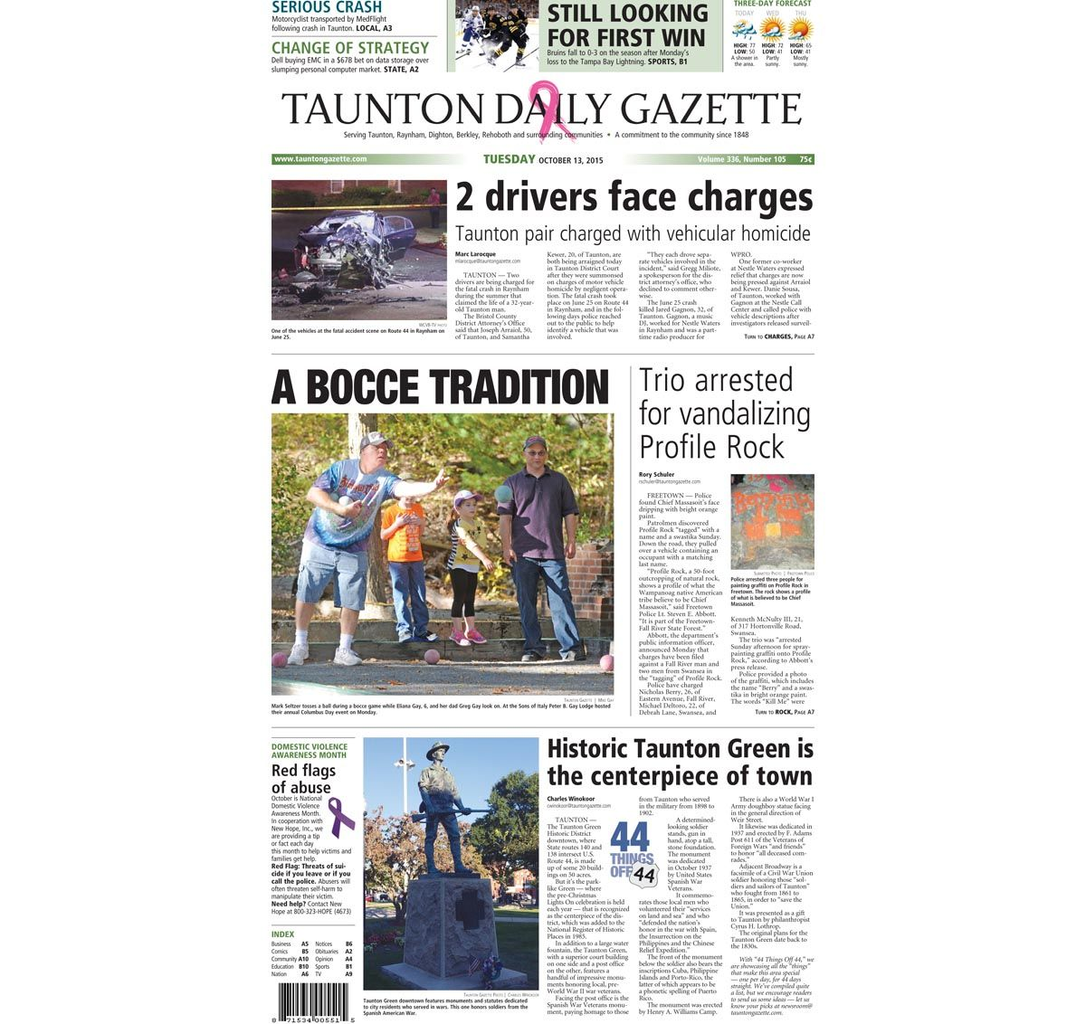 The front page of the Taunton Daily Gazette for Tuesday, Oct. 13, 2015.