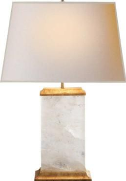 Michael S. Smith Crescent Table Lamp Rock Crystal With Antiqued Brass  Clusters Gilt Details Base