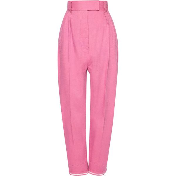 Haider Ackermann Casual High Waist Trouser (12.625 ARS) ❤ liked on Polyvore featuring pants, high rise pants, highwaist pants, high-waist trousers, pink trousers and high-waisted pants