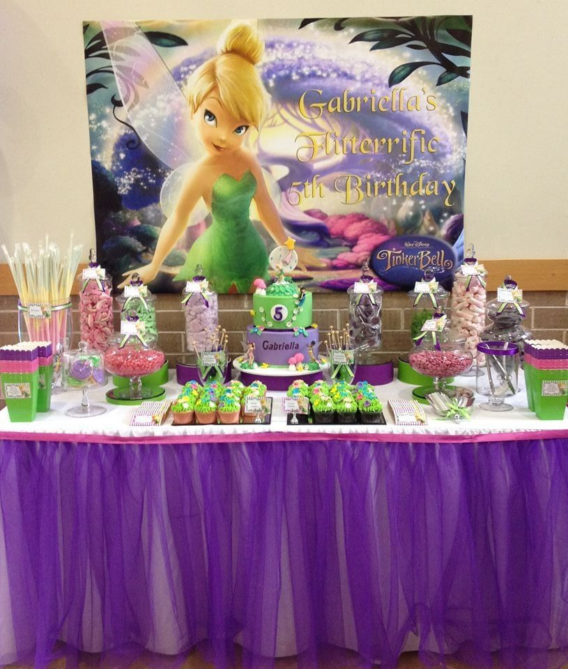 Magical Tinkerbell Birthday Party Dessert buffet Tinkerbell and