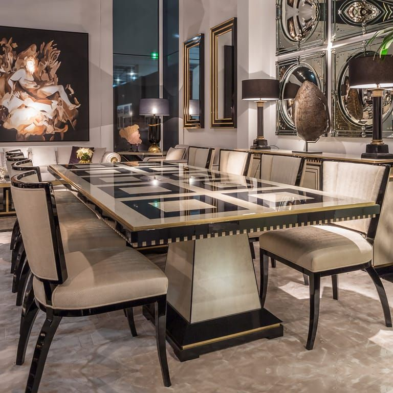 Exclusive Bird S Eye Maple Veneered Table Set Luxury Dining