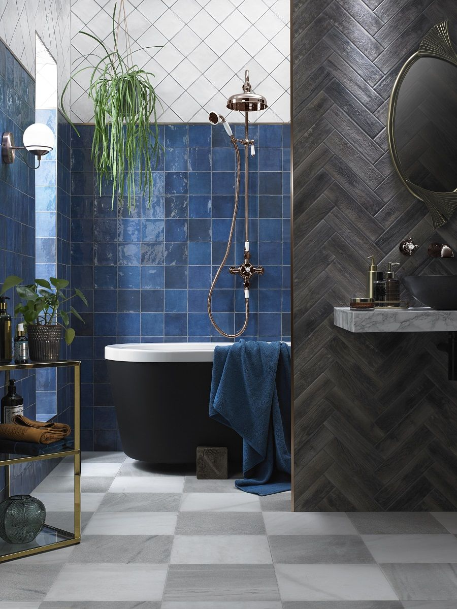 Top Tile Trends That Are Hot Right Now Dear Designer Blue Bathroom Tile Bathroom Cost Funky Bathroom Top bathroom ceramic inspiration