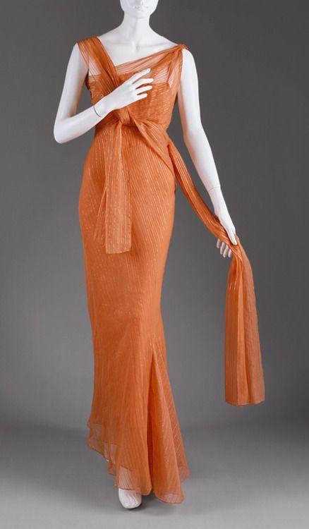 A silk organza evening gown in a gorgeous shade of orange, Schiaparelli, 1939.