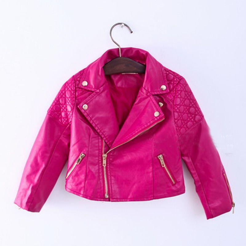 80056fc07089 2017 Fashion Baby Girls Zipper Faux Leather Jackets Coat Kids Trendy ...