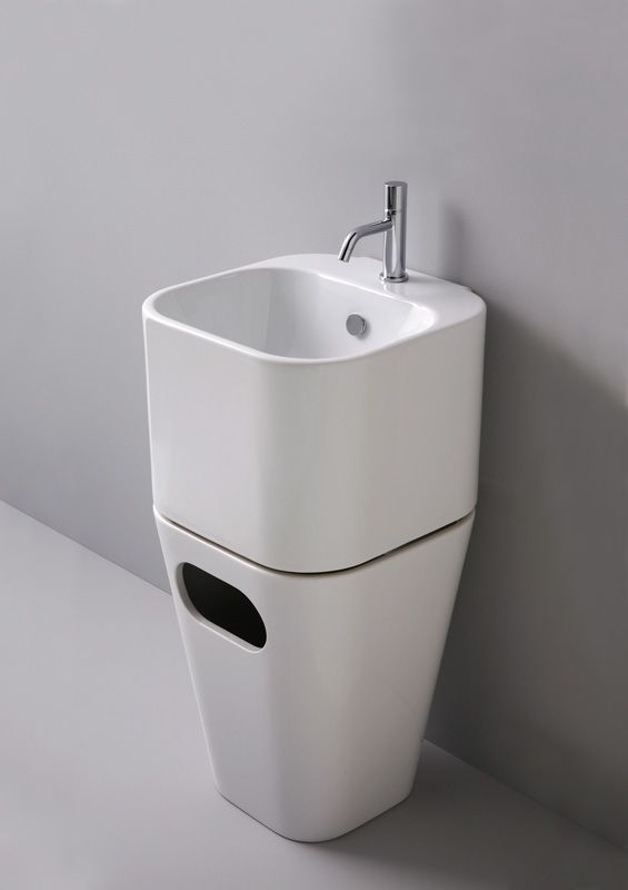 Azzurra Ceramica Sanitari Spa.Tandem Wall Hung Washbasin And Laundry Basket Azzurra Ceramica