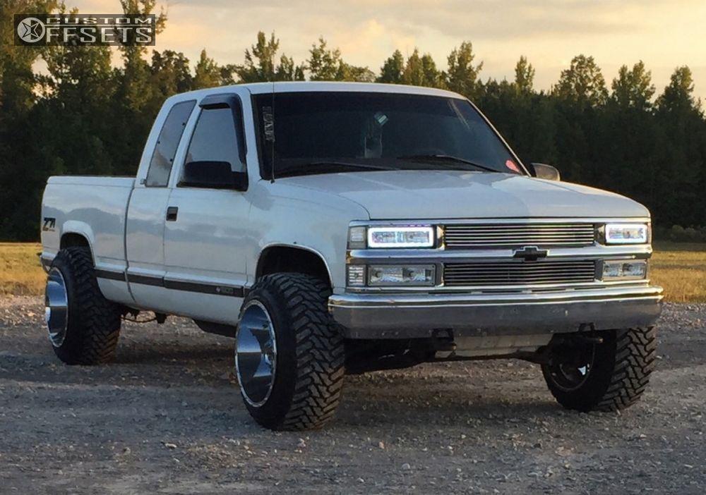 Wheel Offset 1997 Chevrolet K1500 Super Aggressive 3 5 Leveling Kit Custom Rims About Us Lifted Chevy Trucks Chevrolet Mud Trucks