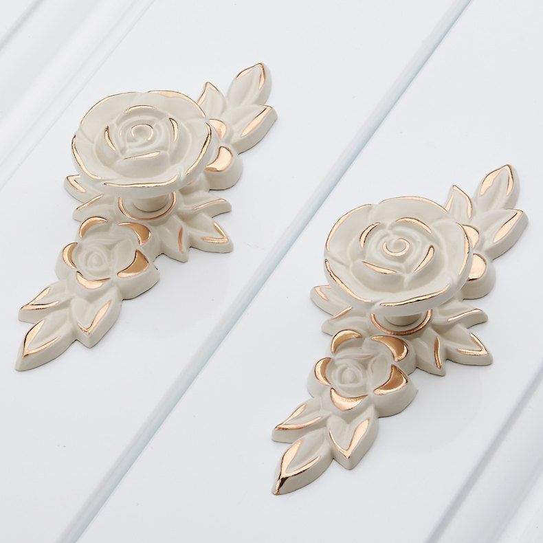 Shabby Chic Dresser Drawer Knobs Pulls Handles Creamy White Gold Rose  Flower Kitchen Cabinet Knobs Pulls