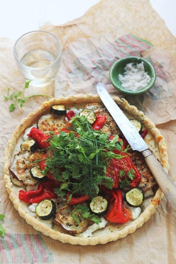 Roasted Vegetable & Cherve Tart with Herb Salad.