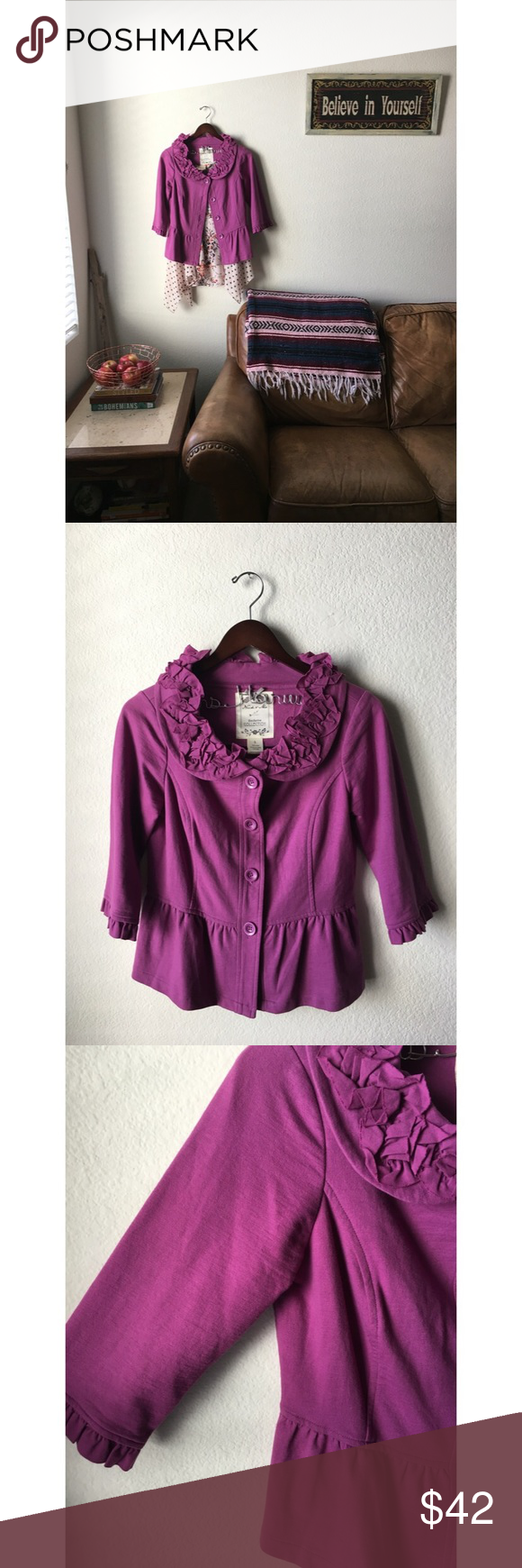 Anthropologie Orchid Jacket Exclusive Collection By: Nick & Mo. Bold in color and classic in design, this jacket is a 10. Size: S Dimensions; L: 21 B: 18. Fibers: 100% Cotton. Condition: EUC Anthropologie Jackets & Coats