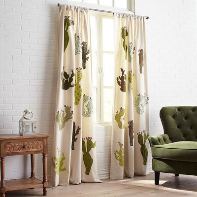 embroidered cactus applique curtain babes nursery pinterest rh pinterest ca