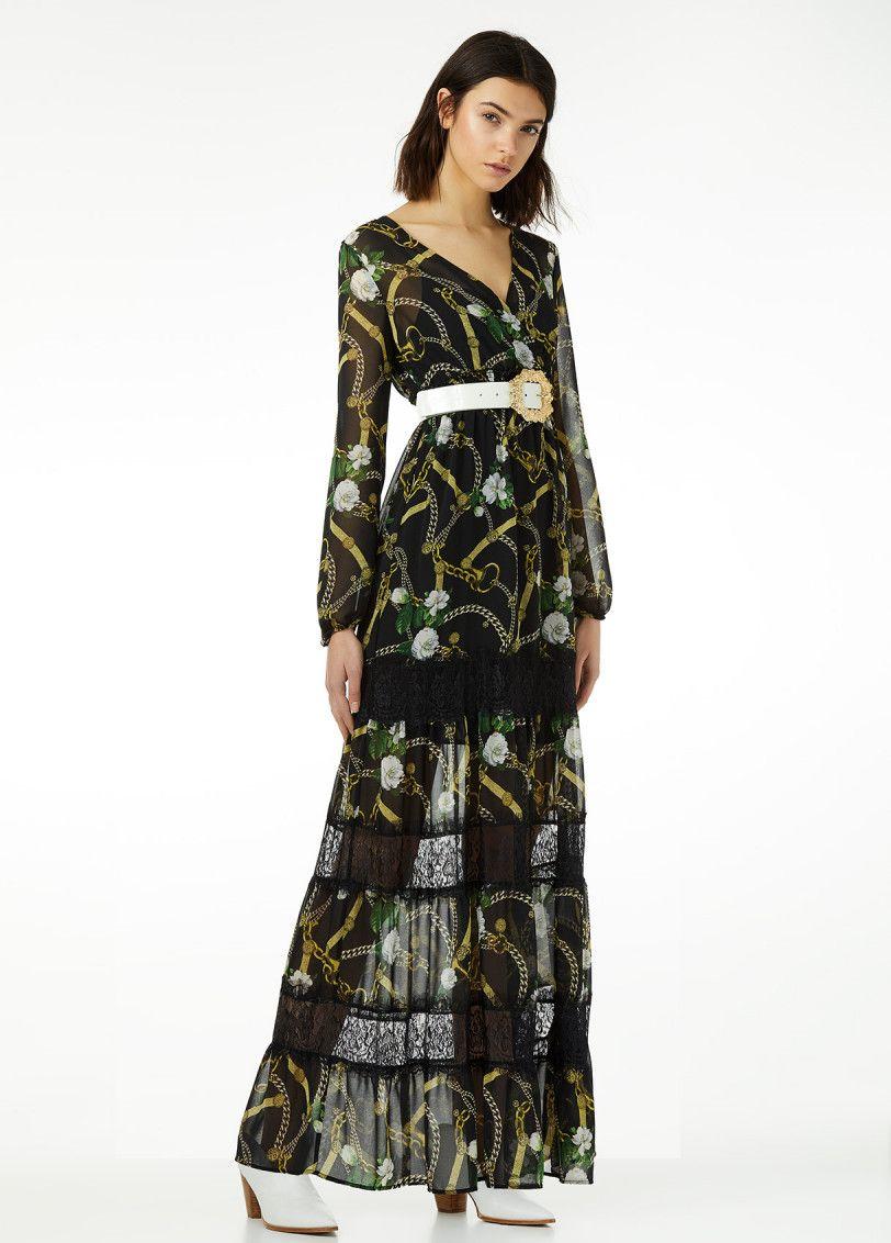 langes kleid mit spitze und print | langes kleid mit spitze