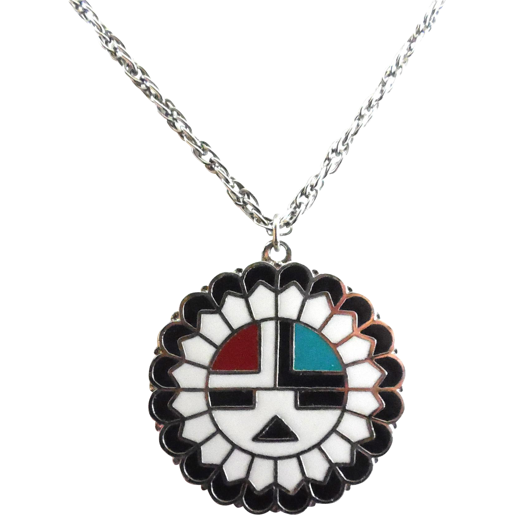 Vintage enamel native american hopi sun symbol pendant necklace rubylane rubylane rubylanecom vintage enamel native american hopi sun symbol buycottarizona Images