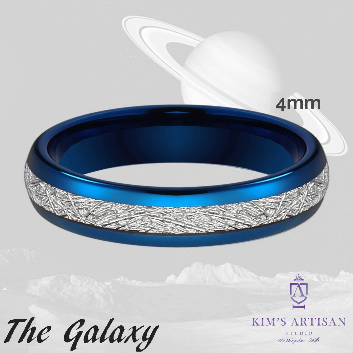 The Galaxy 4mm Domed Cobalt Blue Tungsten Band with