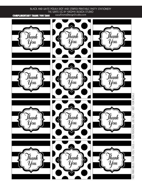 Black And White Party Ideas Kate Spade Party Thank You Tags