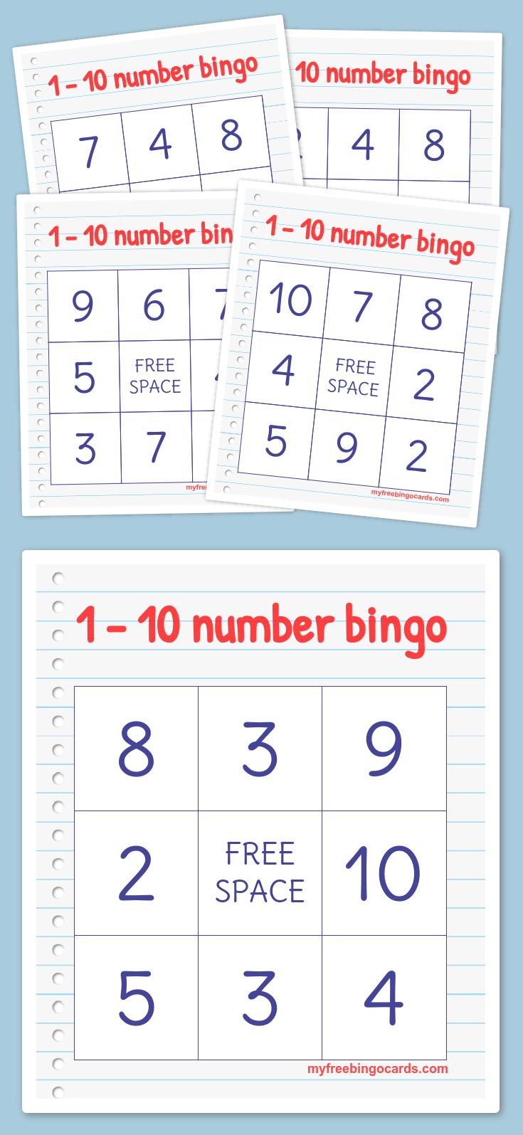 1 10 Number Bingo Bingo Preschool Math Prek Math