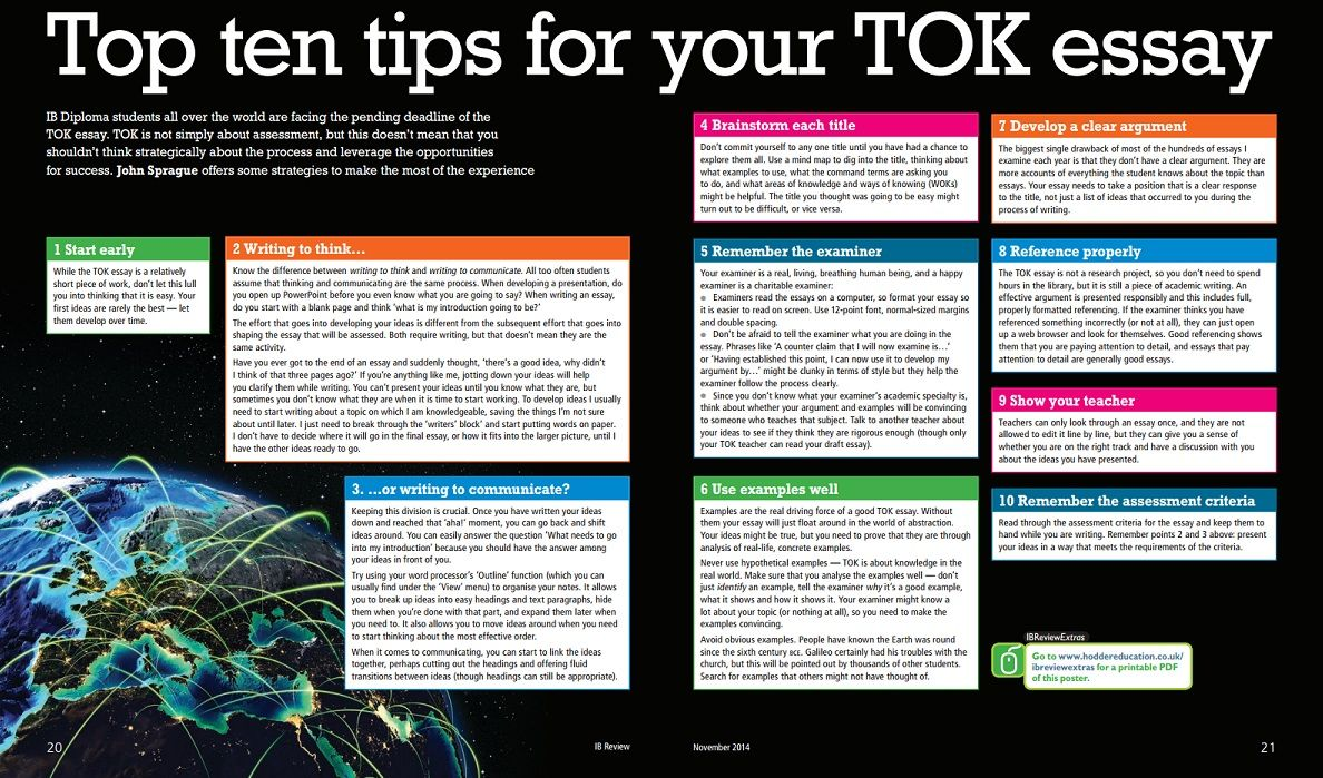 Free poster - Top ten tips for your TOK essay from IB Review | ToK ...