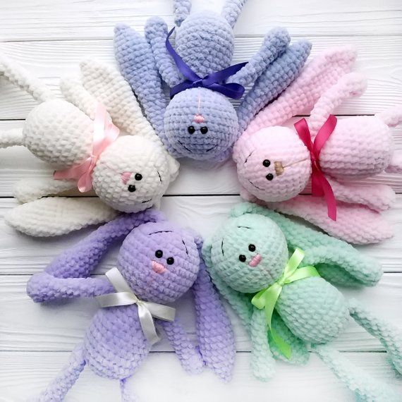 Crochet Chenille Amigurumi Bunny - New Mom Gift Basket - Bunny Stuffed Animal - Velveteen Rabbit - Bridesmaid Gift - Baby Gift Idea #bunnyplush