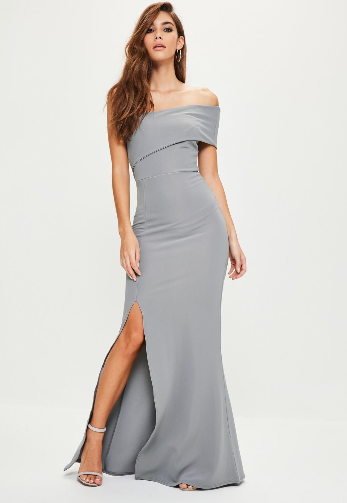 5078793d23 Missguided - Grey One Shoulder Maxi Dress | Bodacious Bridesmaids ...