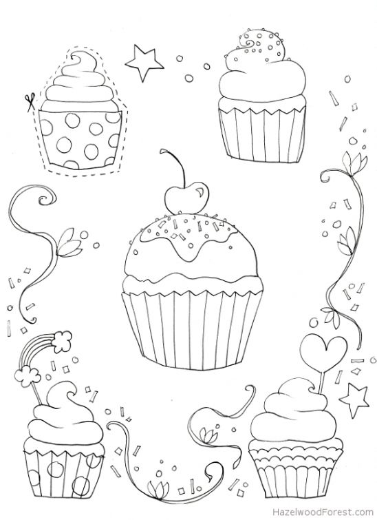 Free Cupcake coloring picture to print online | Fun Coloring Pages ...