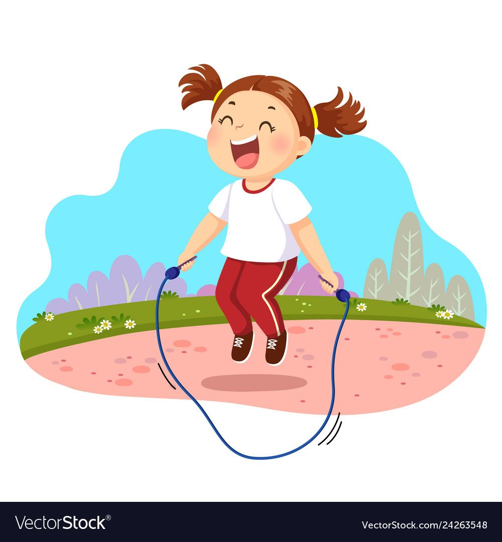 Happy Little Girl Jumping Rope In Vector Image On Vectorstock Jump Rope Kids Clipart Clown Crafts