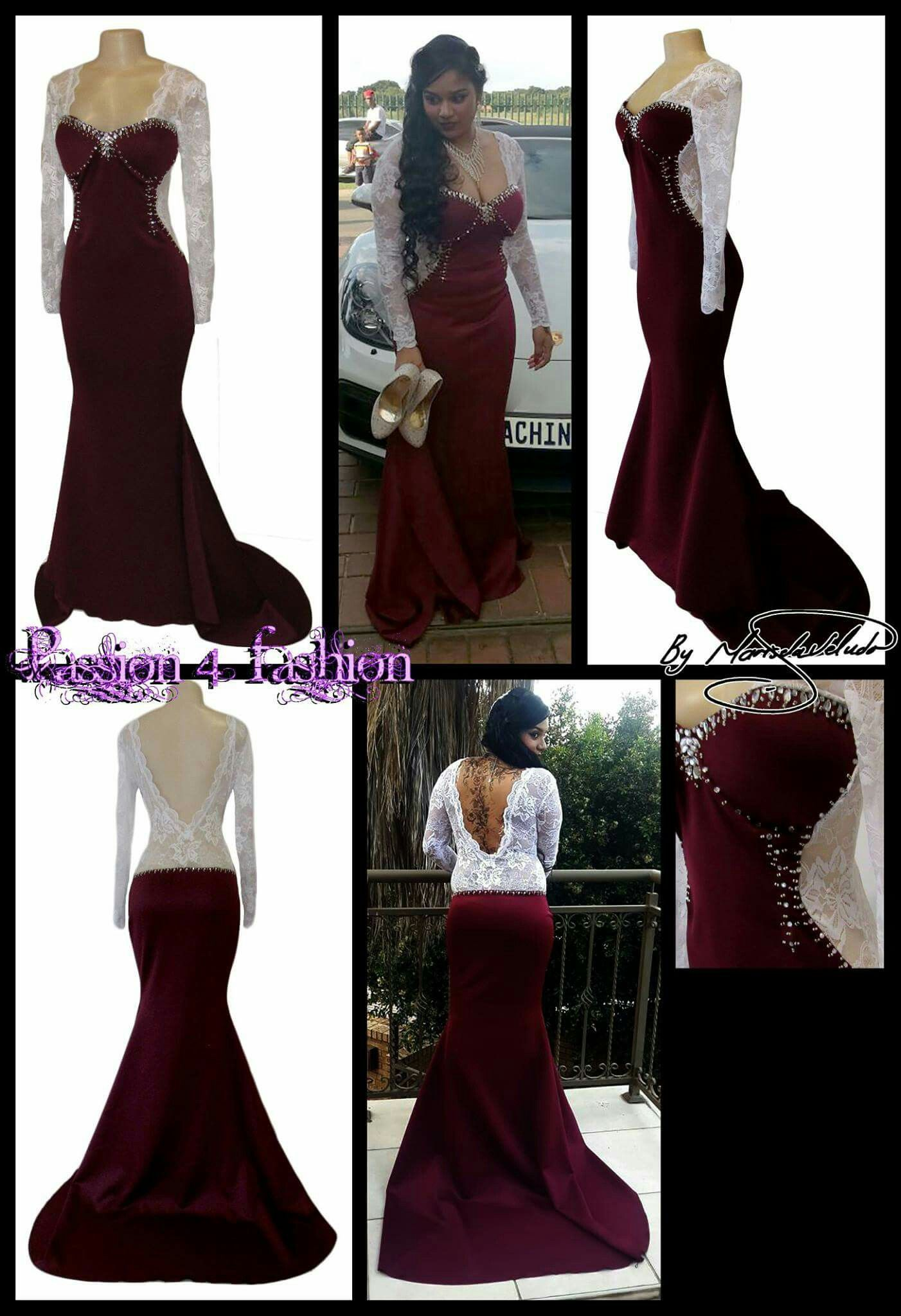 Matric Farewell Prom Make Up: Maroon & White Lace Matric Dance Dress. With A V Open Back