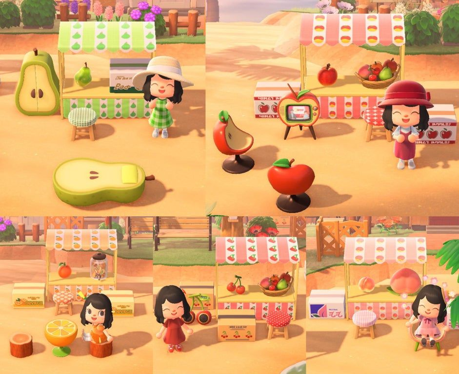 I made some fruit stands for each island fruit ) Creator