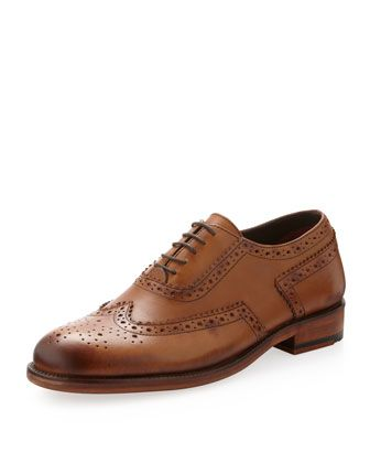Alan Brogue Wing-Tip Oxford, Tan by Ben Sherman at Last Call by Neiman Marcus.