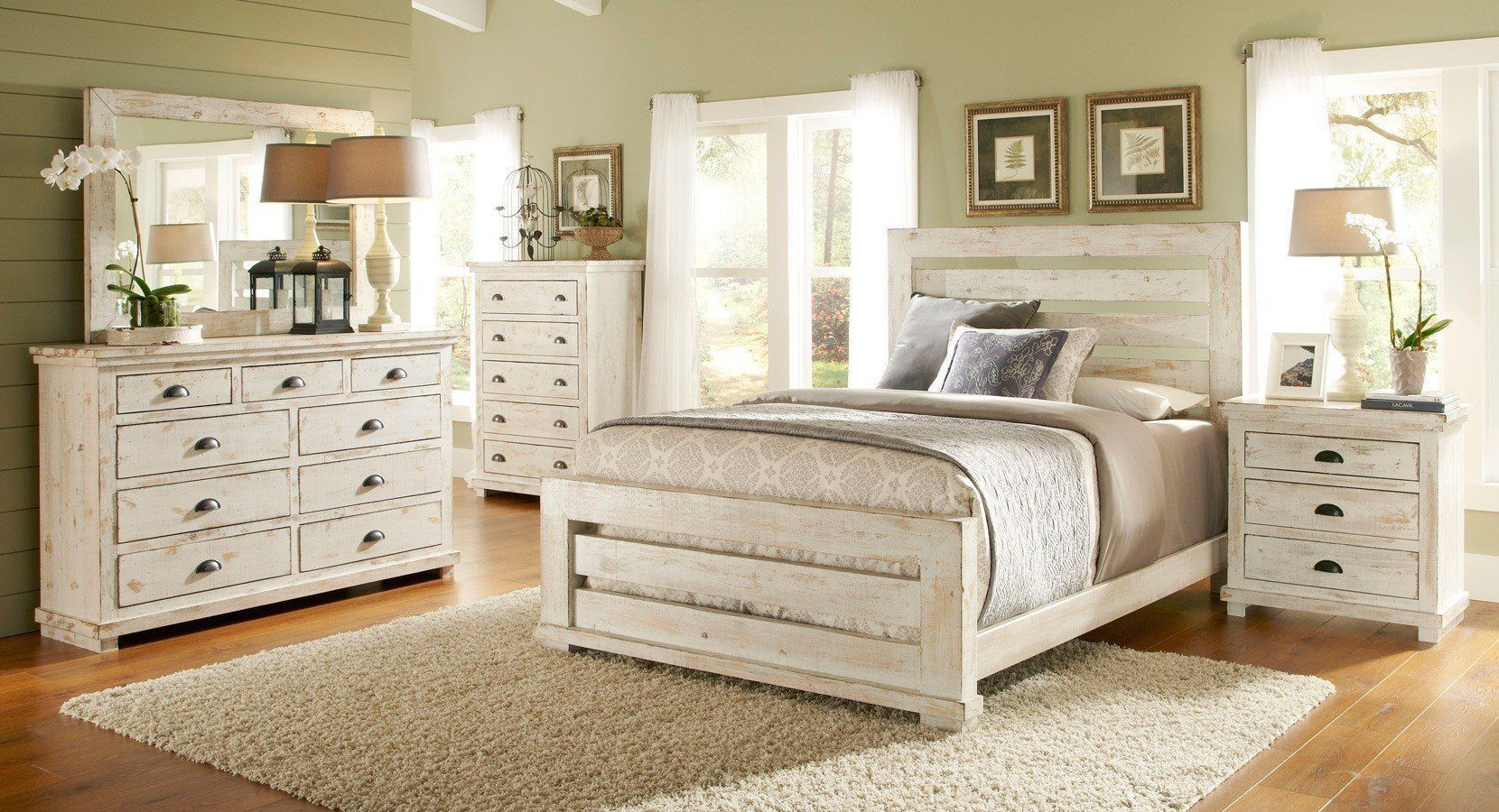 Willow Slat Bedroom Set Distressed White Bedroom Furniture In