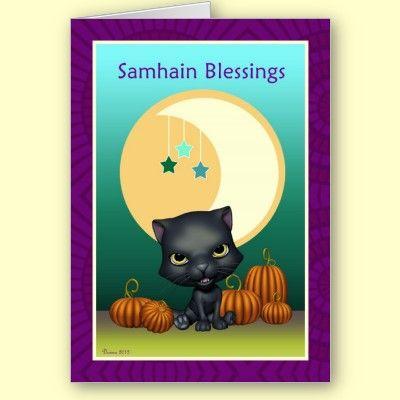 Black cat moon samhain blessings greeting card samhain black cats black cat moon samhain blessings greeting card 410 each or pay less with bulk order by xg designs nyc pagan samhain greetingcard m4hsunfo