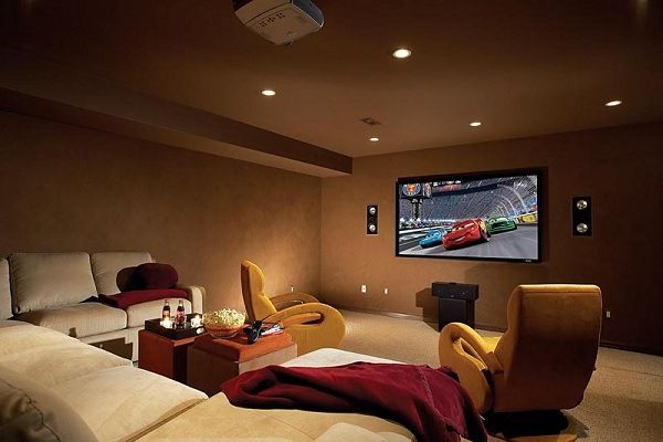 Simple Design Of Basement Home Theater Ideas Movie Night