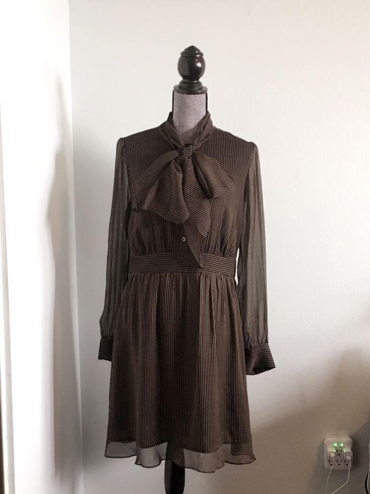 Diane von Furstenberg Tie Neck Chiffon Dress in MINI PINSTRIPE CAMEL SZ 10 New   eBay